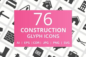 76 Construction Glyph Icons