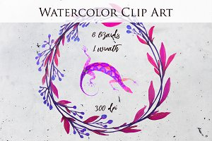 Lizard Watercolor Clipart Neon Paint