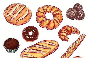 Line Bread Bakery Icon Set