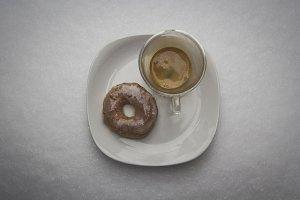 Espresso and Donut in Snow