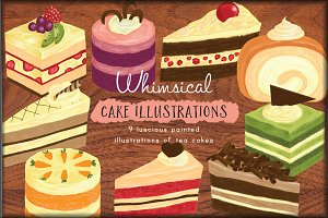 Chalk-style Cake Illustrations
