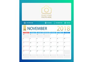 NOVEMBER 2018, illustration vector calendar or desk planner, weeks start on Sunday