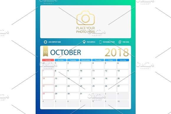 OCTOBER 2018 Illustration Vector Calendar Or Desk Planner Weeks Start On Sunday