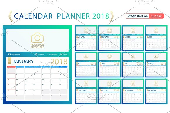 English calendar planner for year 2018, week start Sunday. Set of ...