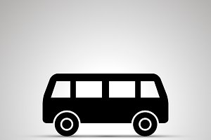 Bus silhouette, simple black icon