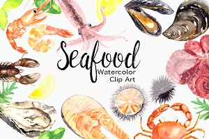 Watercolor Seafood Clip Art Set