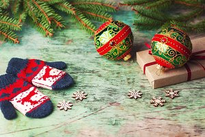 Christmas balls, children's mittens.