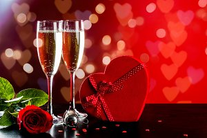 Valentine´s day with champagne
