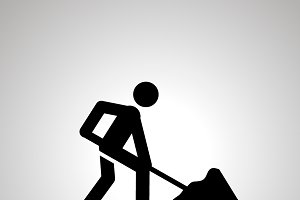 Road worker silhouette, simple icon
