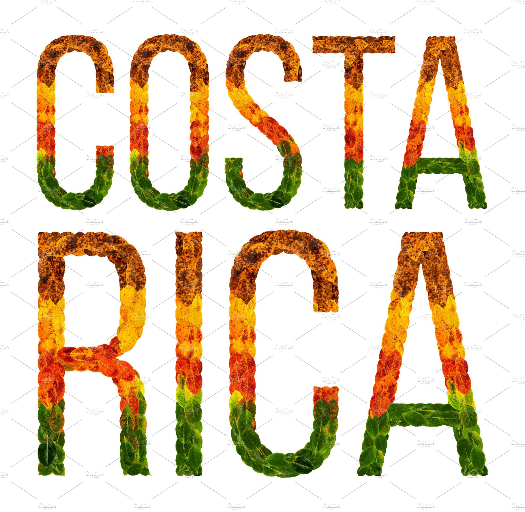 Word costa rica country is written with leaves on a white word costa rica country is written with leaves on a white insulated background a banner for printing a creative developing country colored leaves costa biocorpaavc Gallery