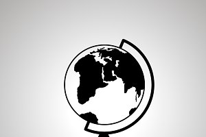School globe silhouette, simple icon