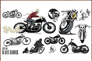 vector motorcycle set
