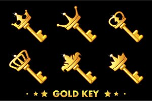 Cartoon Golden key with crown