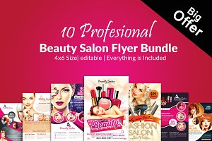 10 Beauty Salon Flyer Bundle