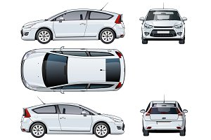 Vector car template isolated on white