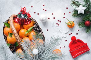 Christmas composition with tangerine