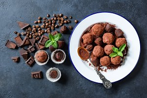 Homemade dark chocolate truffles