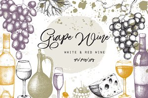 Red & White Wine Illustations Set