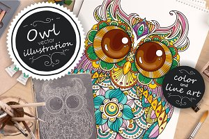 Zendoodle OWL vector illustration