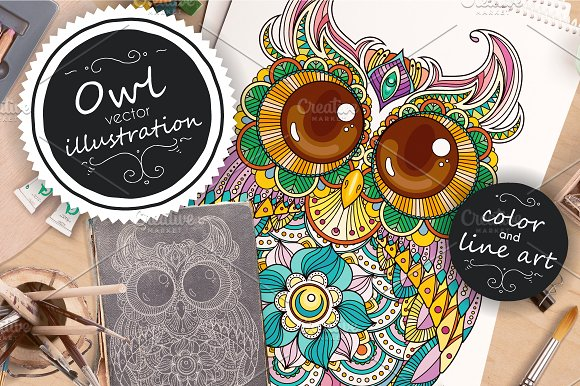 Zendoodle OWL Vector Illustration