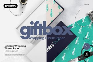 GiftBox Wrapping Tissue Paper Mockup