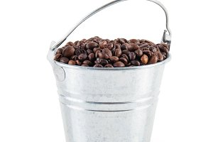 coffee beans in a bucket
