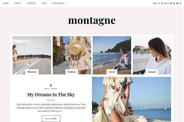 "WordPress Blog Themes: Kotryna Bass Design - Wordpress Theme ""Montagne"""