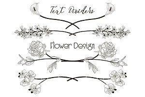 Vector Black Floral Text Dividers. Flower Design Elements