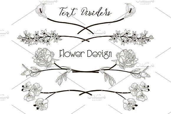 Vector Black Floral Text Dividers Flower Design Elements