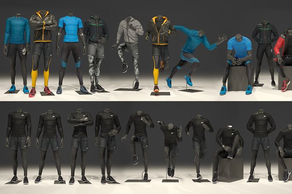 3D People Models - Male mannequin Nike FULL PACK