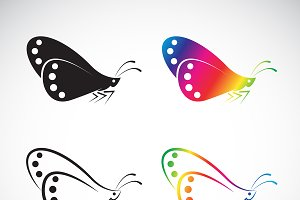 Vector group of butterfly design.
