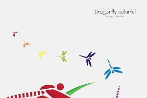 Vector of colorful dragonflie.Insect