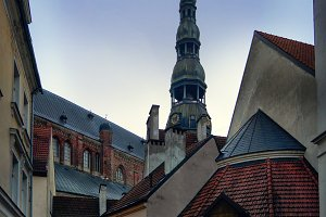 Yard of the Old City with Peters Cathedral in Riga