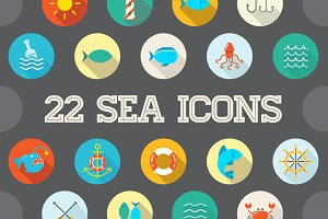 Awesome 22 Flat Vector Sea Icons