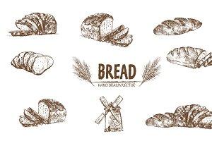 Bundle of 7 bread vector set 1