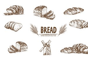 Bundle of 7 bread vector set 1