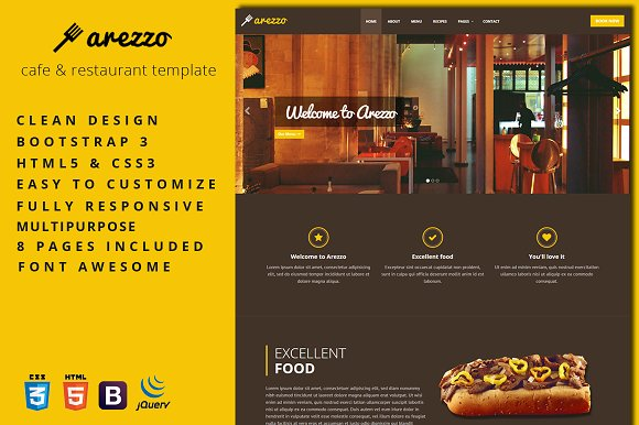 Arezzo Cafe Restaurant Template Bootstrap Themes Creative Market
