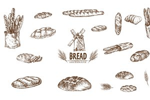Bundle of 15 bread vector set 2
