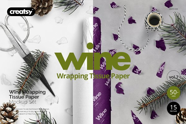 Wrapping Paper Wine Bottle Mockup