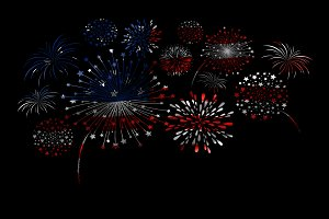 Firework design of USA flag