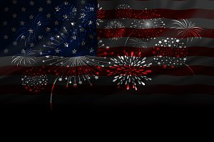 Fireworks design of USA flag