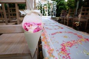 Rose petals in paper psckage