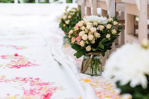 wedding ceremony decorations, rose petals