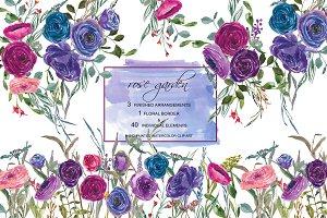 Watercolor Purple Blue Rose
