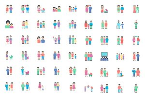 100 Flat Icons Set of Family