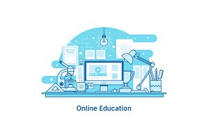 E-learning Education Online Line design concept web banner