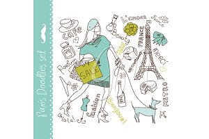 Paris doodles clip art set, eps