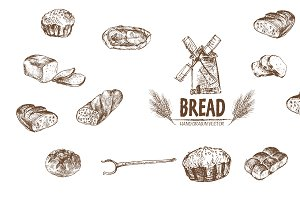 Bundle of 15 bread vector set 3