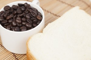 Bread plate and cup with coffee bean