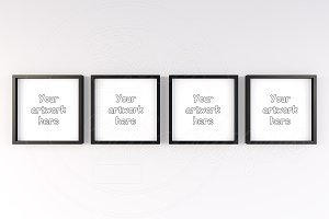 Set of 4 black square mockup frames